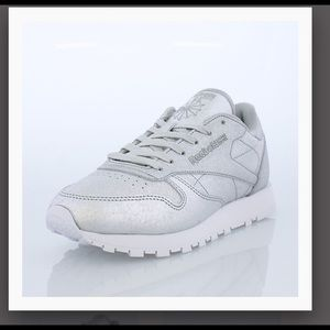 Silver Reebok Classic Leather with white laces